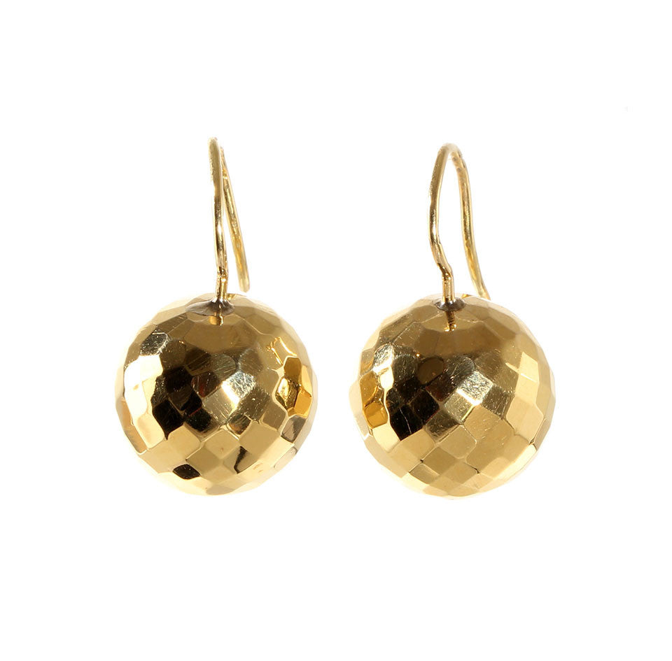 Victorian Era Facetted Gold Ball Earrings