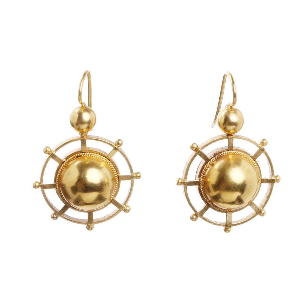 Victorian Gilded Wheel Earrings