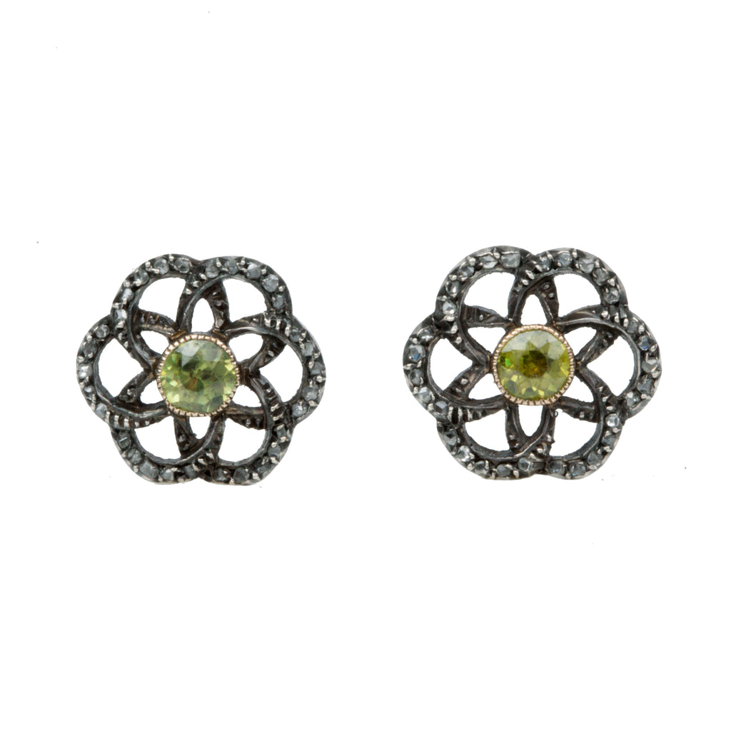 Early 20th Century Demantoid Garnet and Diamond Stud Earrings