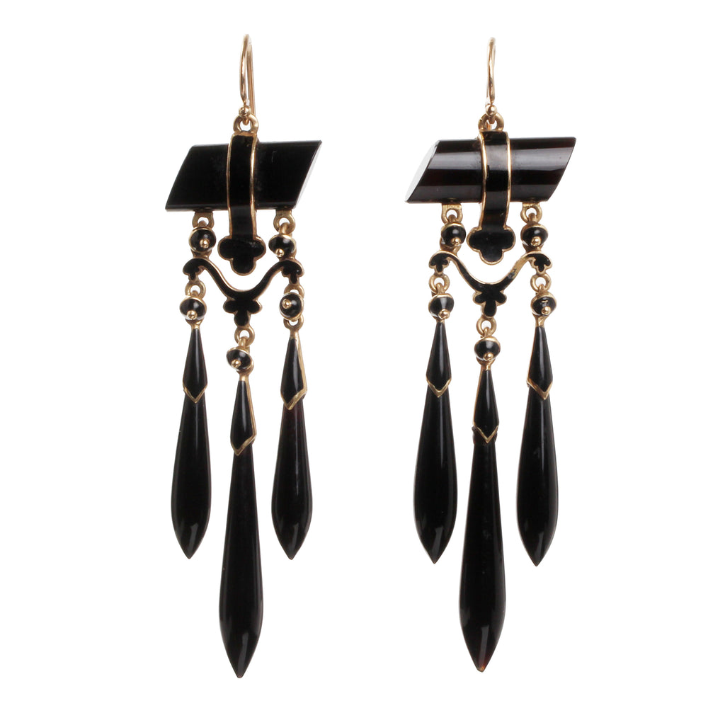 19th Century Onyx and Gold Torpedo Drop Earrings