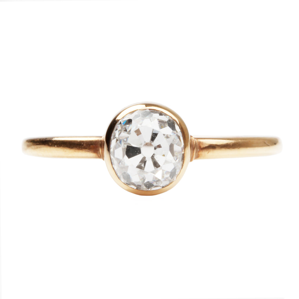 Rub Over Bezel Set Old Mine Cut Diamond Solitaire