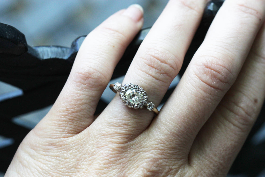 19th Century Moval Diamond Cluster Ring