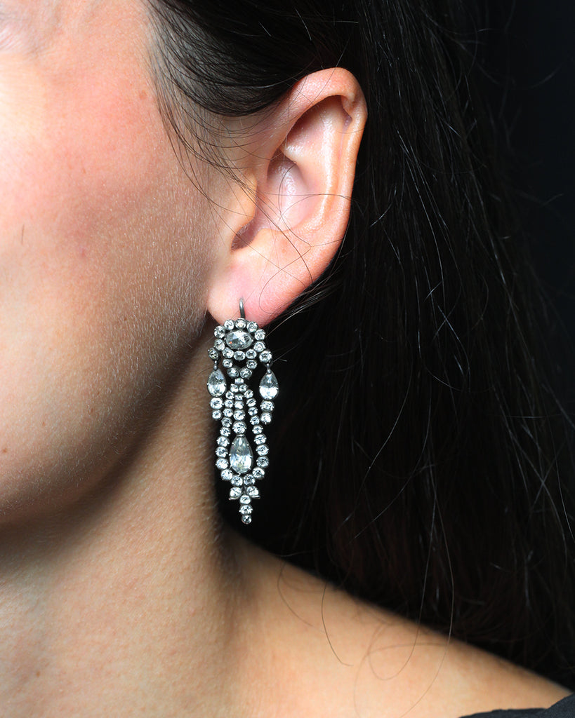 Georgian White Paste Earrings