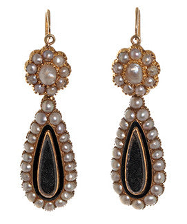 Victorian Teardrop in Pearls Locket Earrings