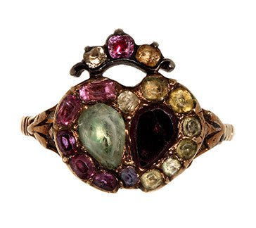 Chrysoberyl & Garnet Twin Heart Ring