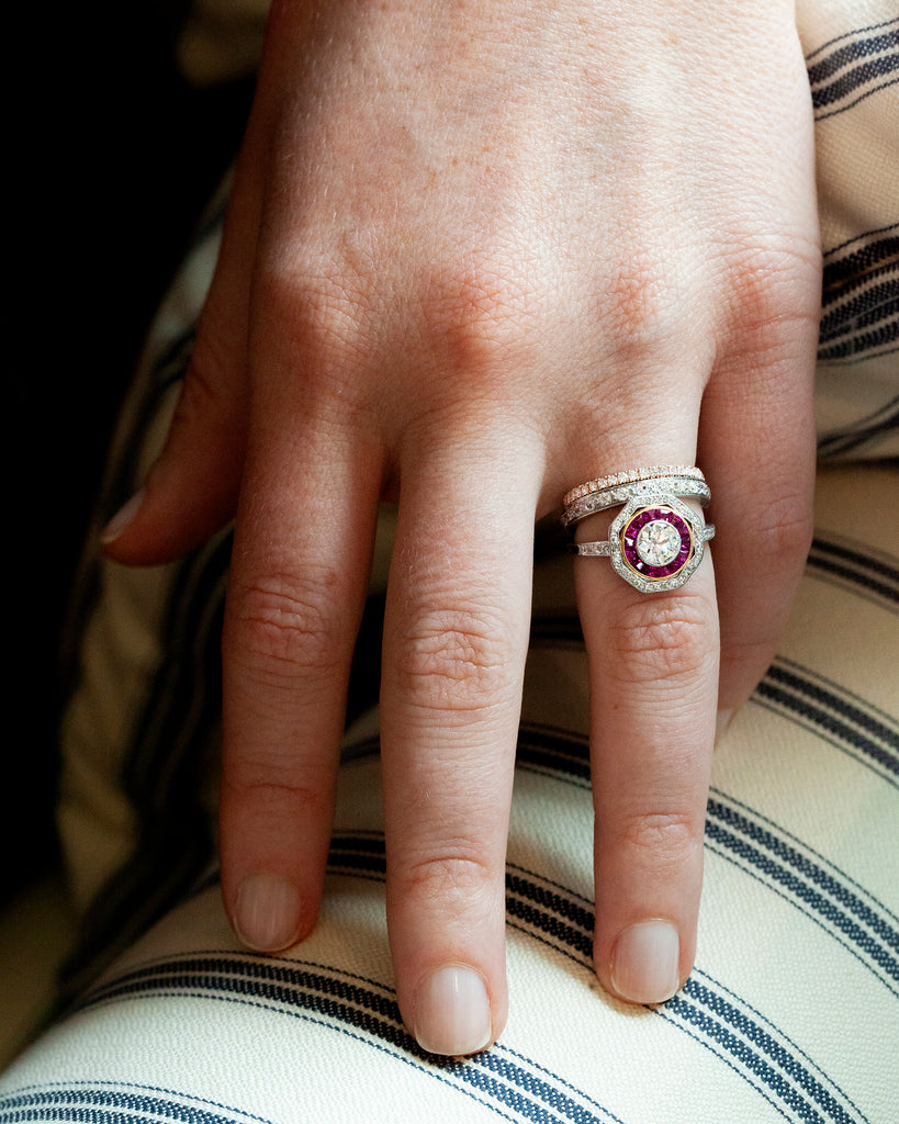 Edwardian Diamond and Ruby Cluster Ring