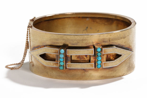 Mid 19th Century Turquoise and Gold Bangle