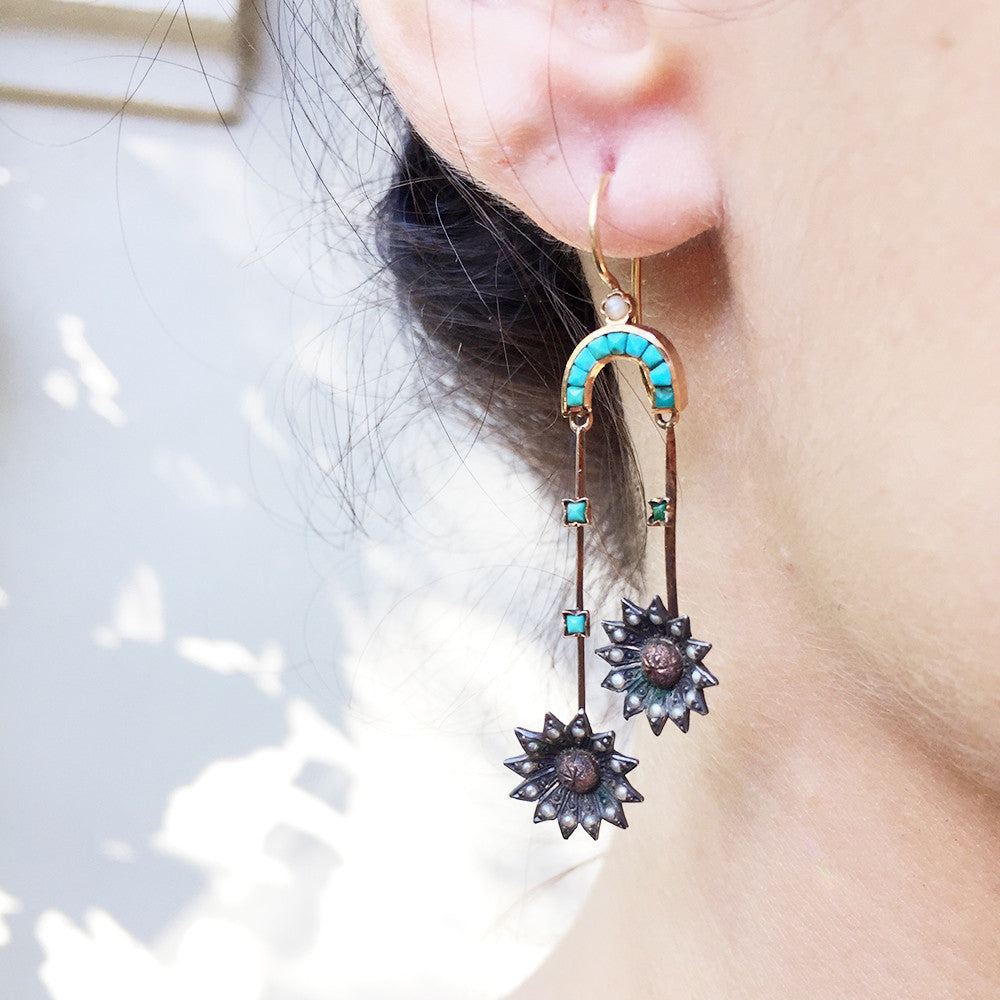 Victorian Turquoise and Seed Pearl Earrings