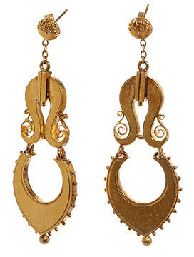 Victorian Etruscan Revival Gold Earrings