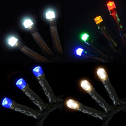 LED christmas tree lights in warm white, bright white, multi colour or blue options
