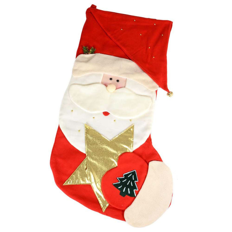 front view of giant santa stocking, featuring santa holding a gold star with 3d face