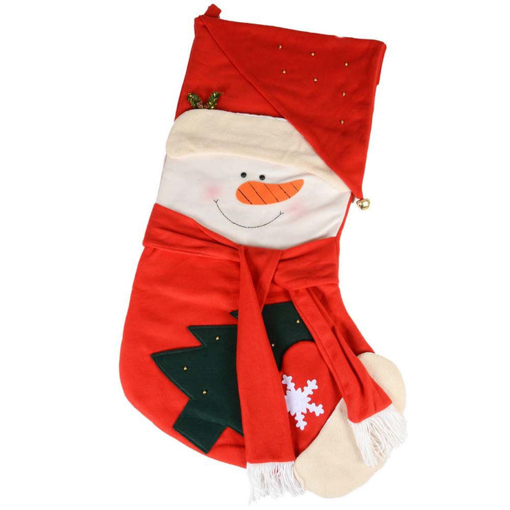 front view of snowman giant stocking with snowman holding a christmas tree