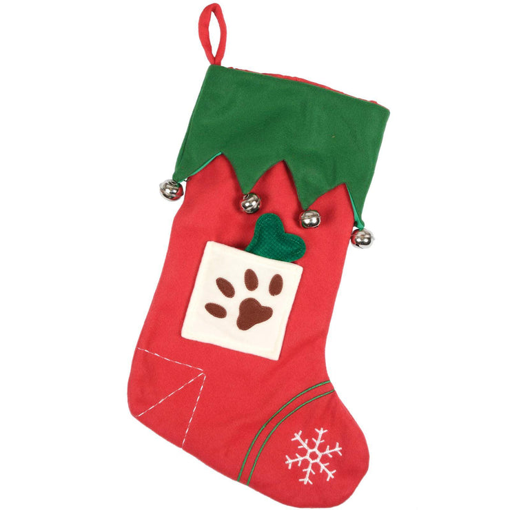 front view of red and green felt dog stocking with real mini bells and felt bone