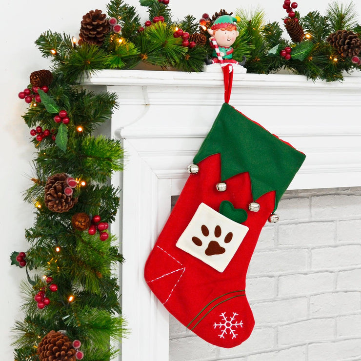"18"" pet dog christmas stocking in room setting with little paw pocket and felt bone"