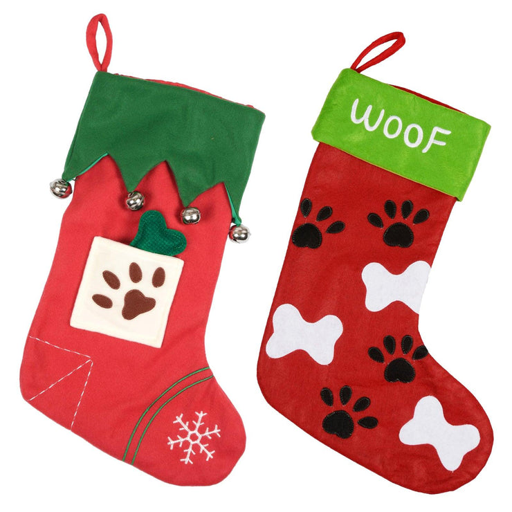 pet stocking available in woof and bone design
