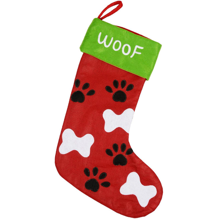 front view of red and green felt pet dog stocking