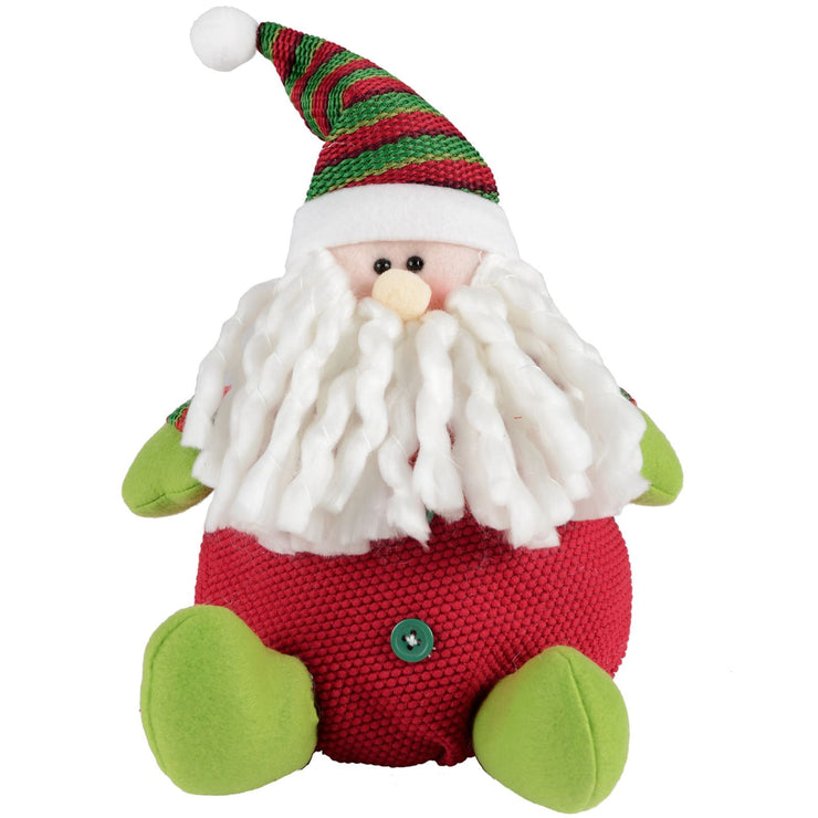 front view of novelty plush santa figure decoration