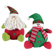 plush santa and snowman christmas novelty decoration