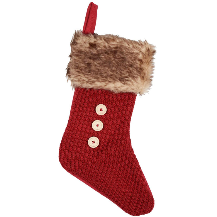 red stocking with faux fur trim and button detail on the front