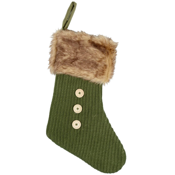 green stocking with faux fur trim and button detail on the front
