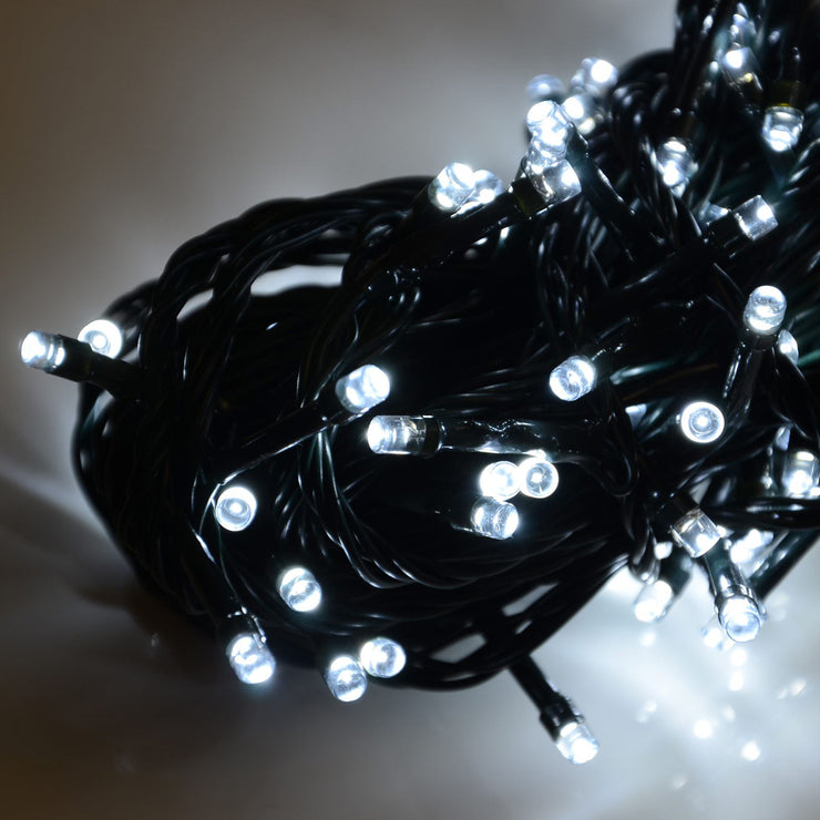 100 battery operated bright white lights wrapped up in cluster, light reflected on surface