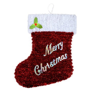 large merry christmas tinsel wall hanging with foil holly leaves and berry clusters