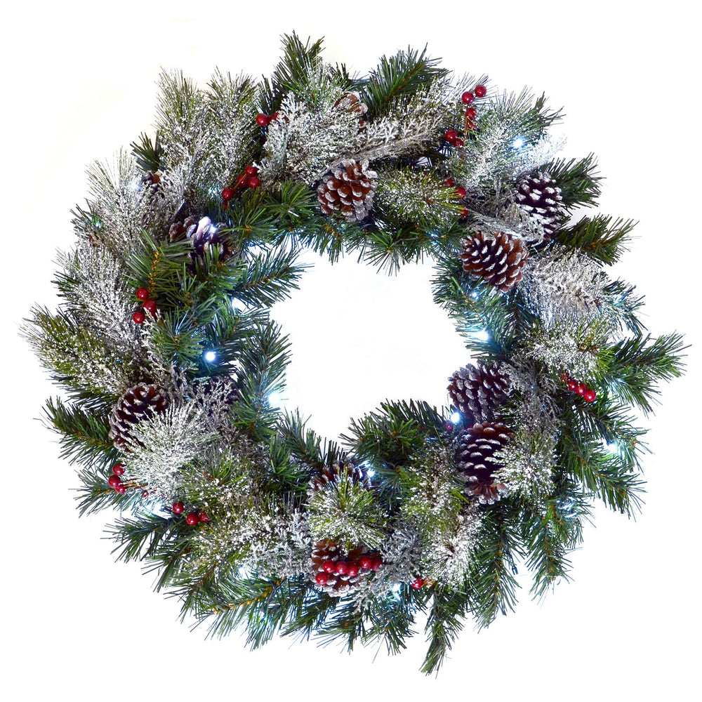 Mr Crimbo Pre-Lit Christmas Wreath Frosted Berries 24
