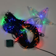 cluster shot of christmas tree net light with star topper in multi colour