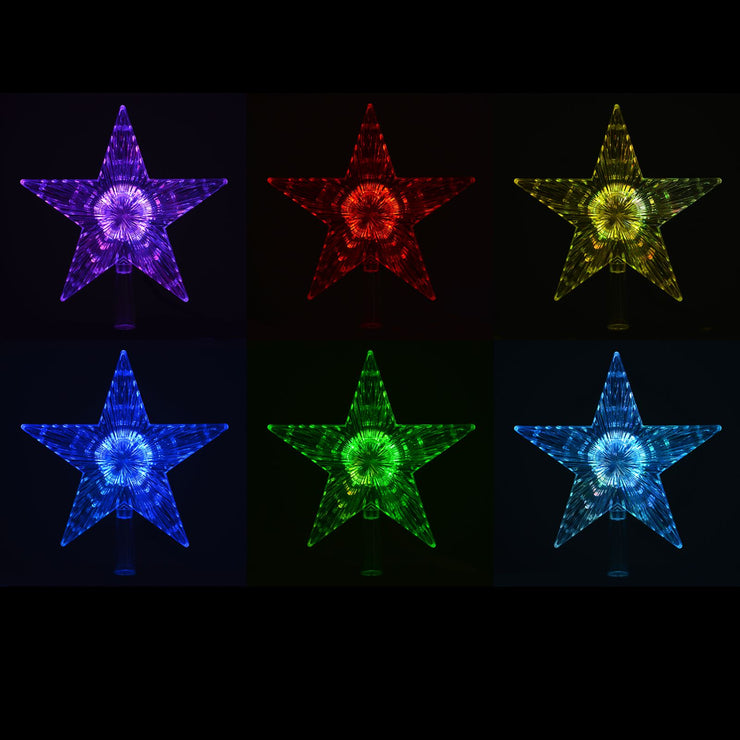 colour cycle of star tree topper - purple, red, yellow, blue, green, pale blue