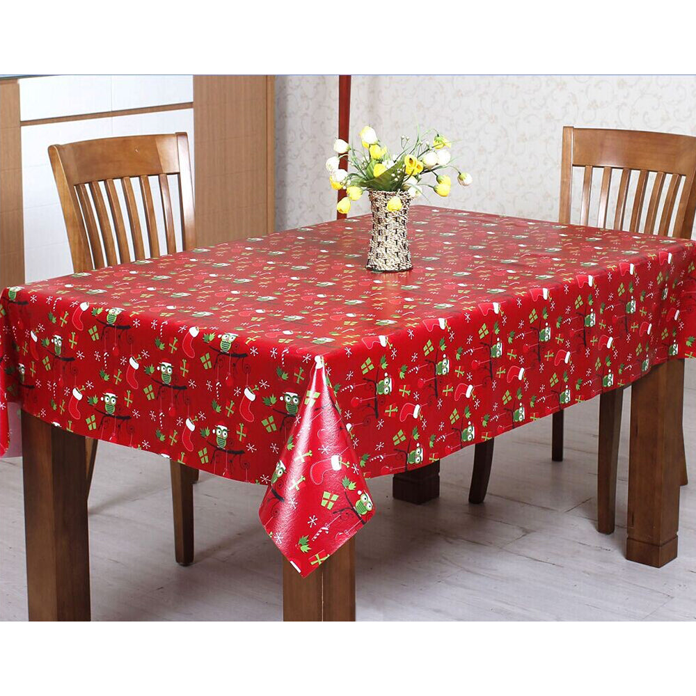 Mr Crimbo PVC Wipe Clean Large Xmas Owl Tablecloth Cover