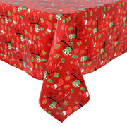 PVC christmas tablecloth with all over christmas bird and gift design
