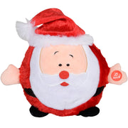 front view of plush musical santa with faux fur trim santa hat and press me button on santas hand