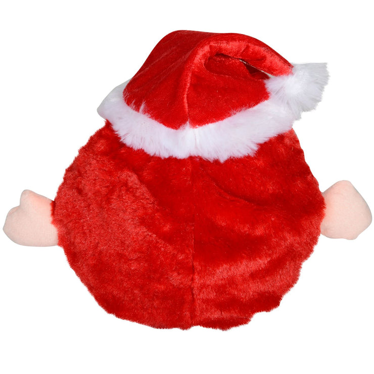 back view of round plush musical santa decoration