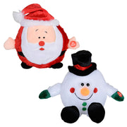 "7"" musical laughing plush christmas decoration available in santa or snowman design"