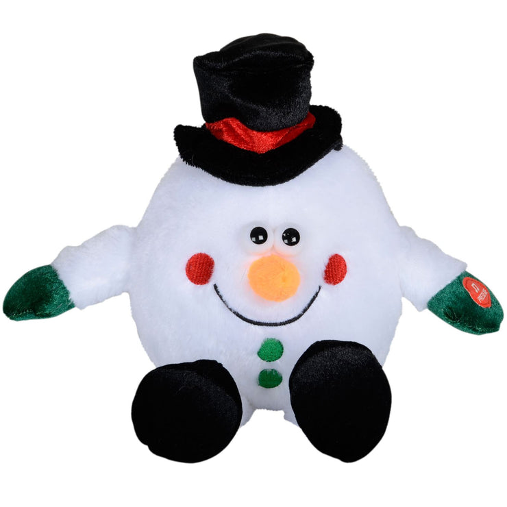 front view of plush musical snowman with black top hat and press me button on snowmans hand