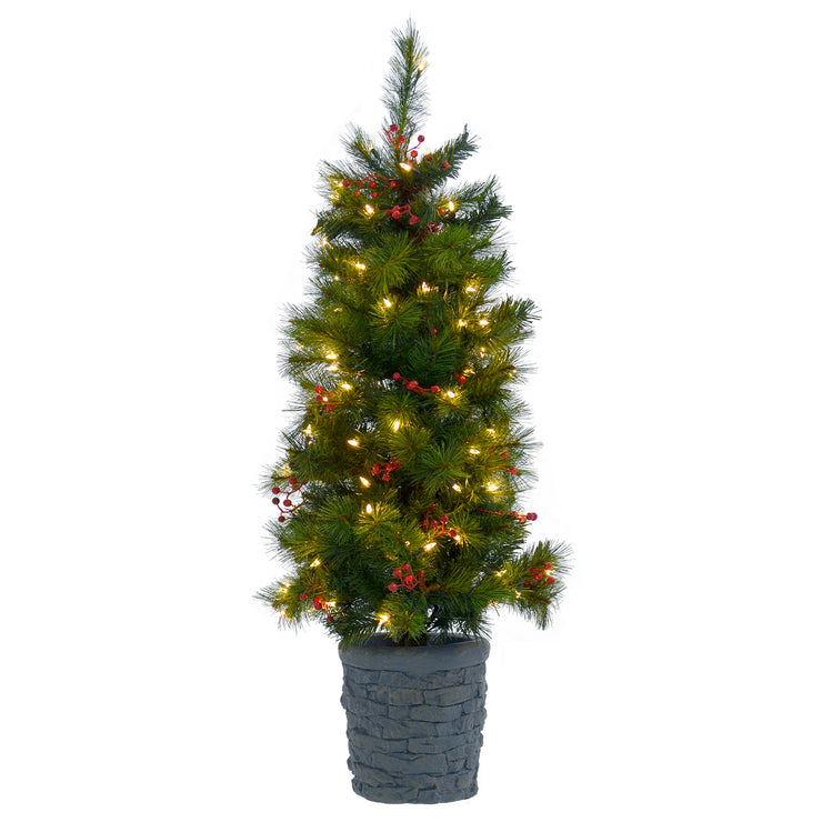 4ft pre-lit christmas tree with warm white led lights and berry clusters in concrete stone style pot