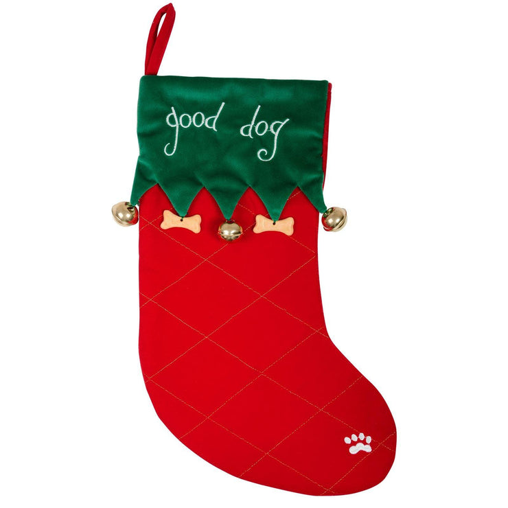 front view of good dog stocking with hanging mini bones and bells, and embossed paw stitch on outer edge