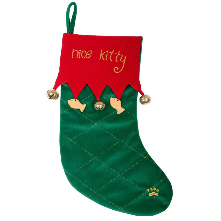 front view of nice kitty stocking with little hanging fish and bell detail with stitched gold paw on outer edge