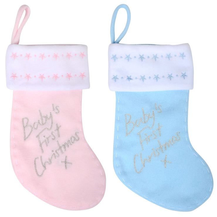 "baby's first christmas 12"" stocking with star details"