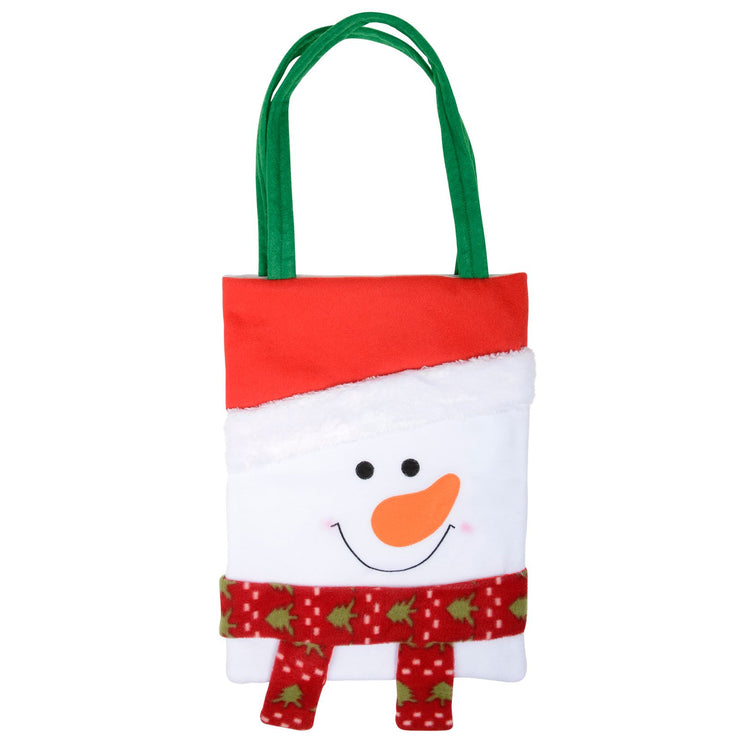front view of snowman christmas gift bag with green carry straps and a cute snowman face with festive scarf