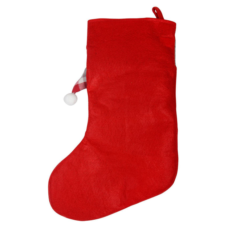 back view of stocking, red felt exterior