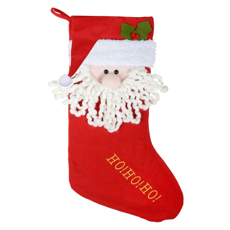 "front view of 24"" 'Ho Ho Ho' design christmas stocking with 3d santa's face design"