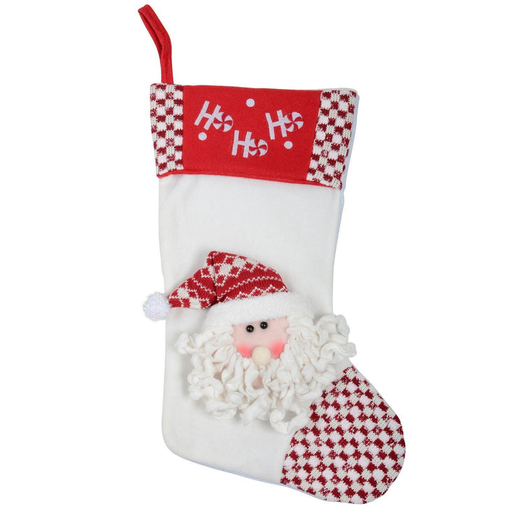 "front view of 18"" fabric stocking with 3d santa head and embroidered ho ho ho slogan to the top"
