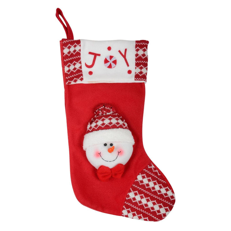 "front view of 18"" fabric stocking with 3d snowman head and embroidered joy slogan to the top"