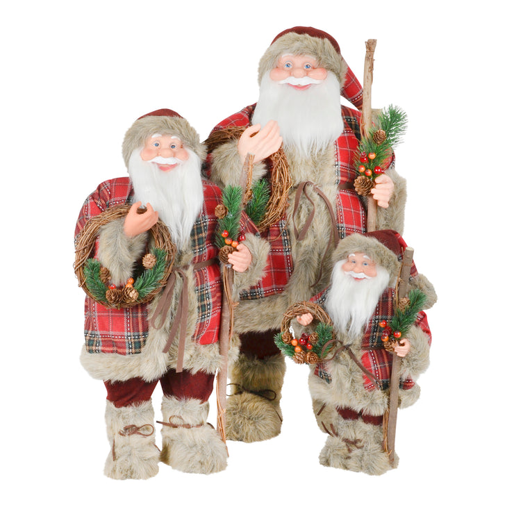 plush santa figures with christmas jumper available in 3 sizes