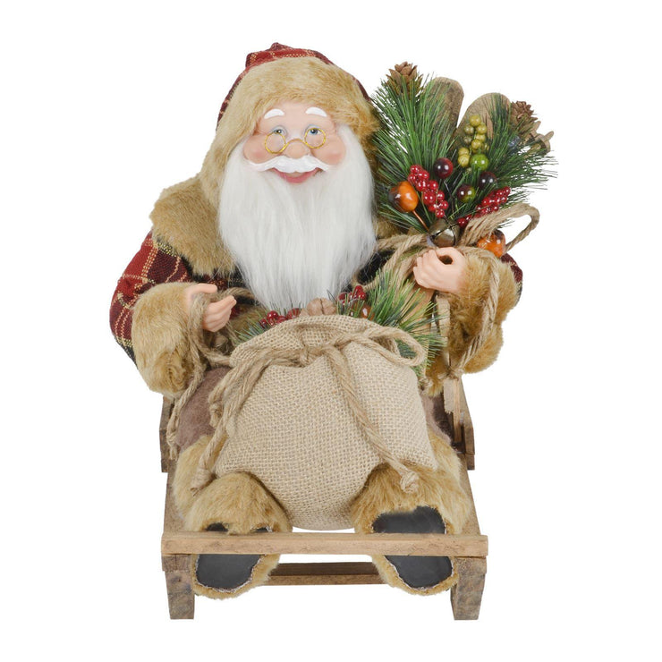 smiling santa on wooden sleigh front view.