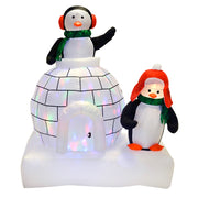 5ft penguin and igloo inflatable decoration with warm white and multi colour disco lights