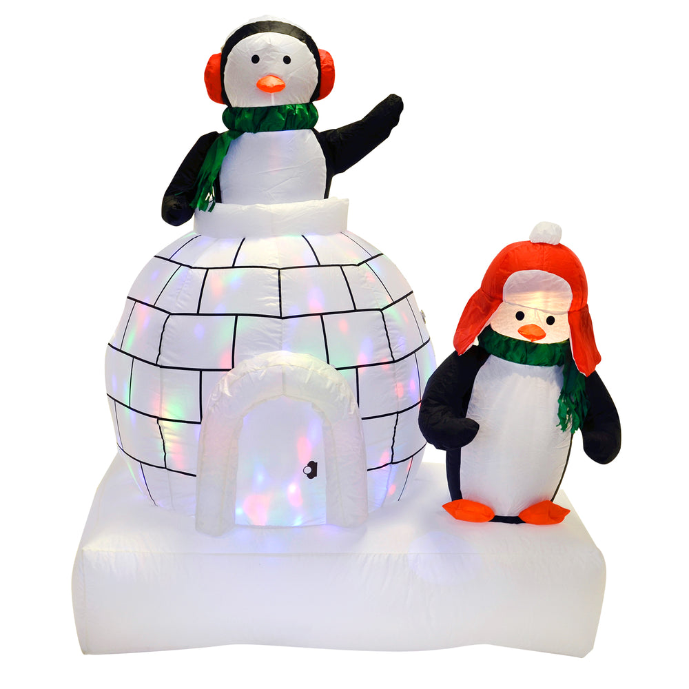 Mr Crimbo 5ft Penguin And Igloo Inflatable With Disco Lights