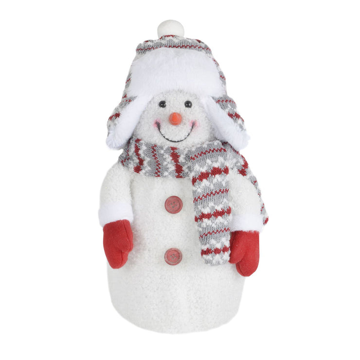 front view of large snowman plush decoration with winter accessories