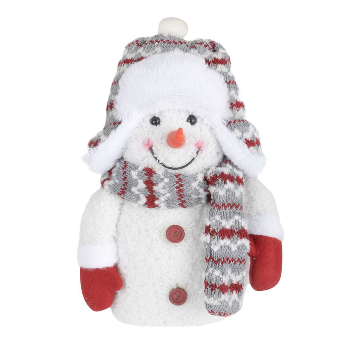 front view of snowman decoration with trapper hat